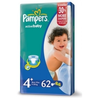 Подгузники Pampers Active Baby Maxi Plus 9-16 кг, 62 шт. (4774)